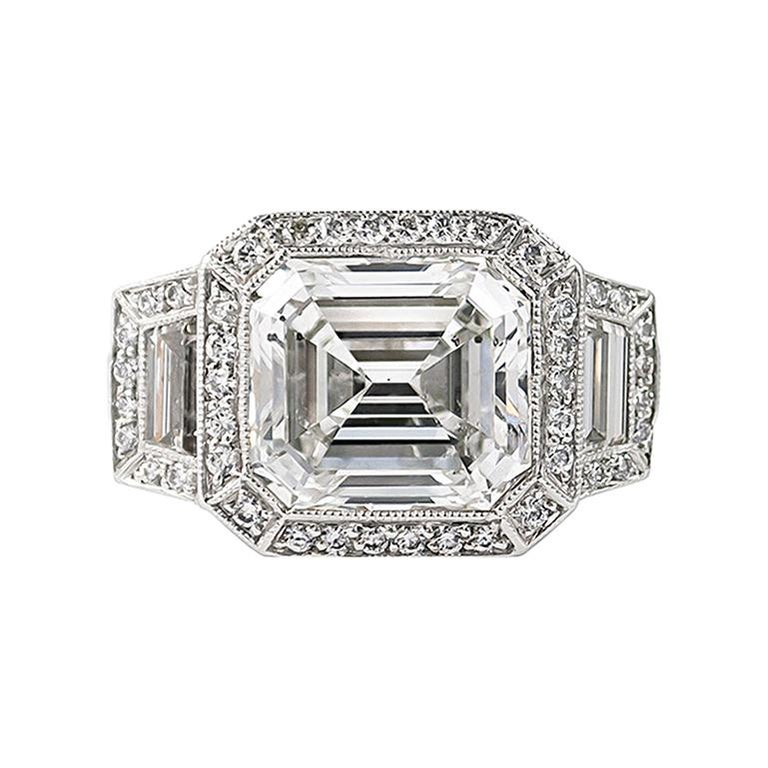 J. Birnbach GIA Certified 7.34 Carat Emerald Cut Diamond Ring  For Sale