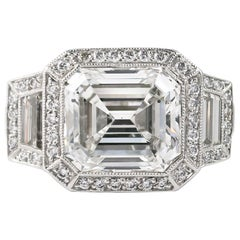 J. Birnbach GIA Certified 7.34 Carat Emerald Cut Diamond Ring