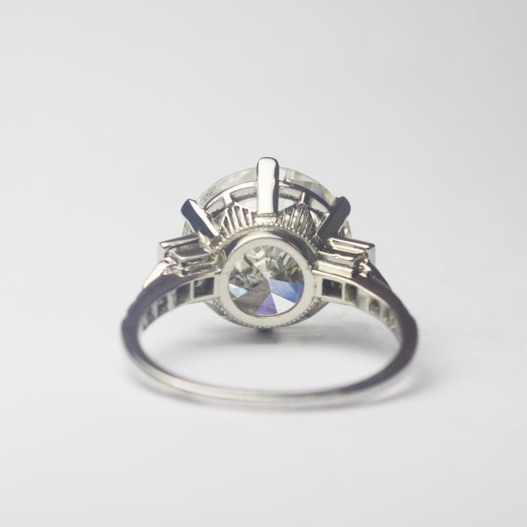 Round Cut J. Birnbach GIA Certified 7.82 Carat Round Brilliant Cut Diamond Art Deco Ring For Sale