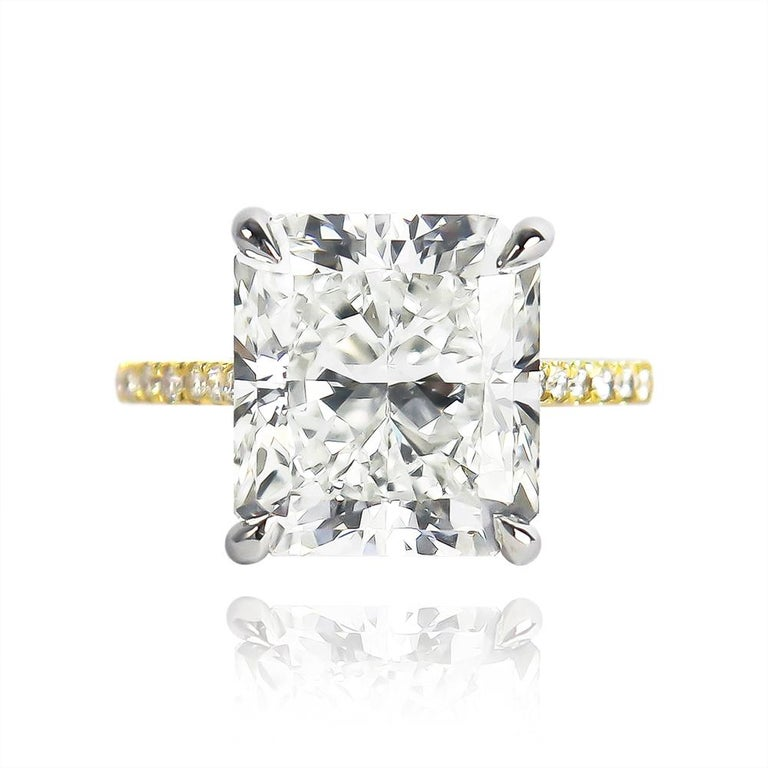 This stunning, new ring from the J. Birnbach workshop features a 7.83 carat radiant cut diamond of I color and SI1 clarity... Beautifully laid out with mesmerizing faceting, this stone is 100% eye clean. Set in a platinum and 18K yellow gold,