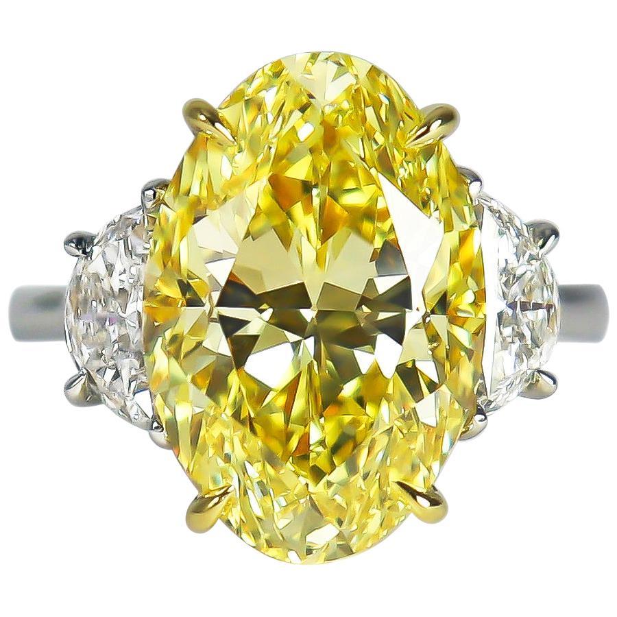 J. Birnbach GIA Certified 8.01 Carat Fancy Intense Yellow Oval Diamond Ring