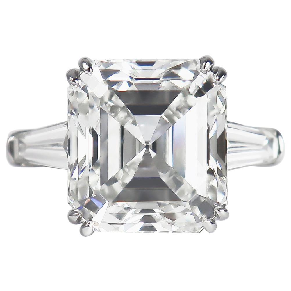 J. Birnbach GIA Certified 8.21 Carat G VS1 Square Emerald Cut Diamond Ring