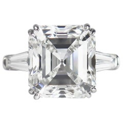J. Birnbach GIA Certified 8.21 Carat G VS1 Square Emerald Cut Diamond Ring