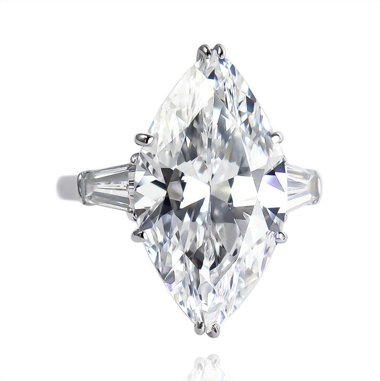 This magnificent diamond from the J. Birnbach vault is a treasure beyond description... The 8.33 carat marquise cut diamond of D color and Internally Flawless clarity is set in a handmade, platinum ring mounting with beautifully matched tapered