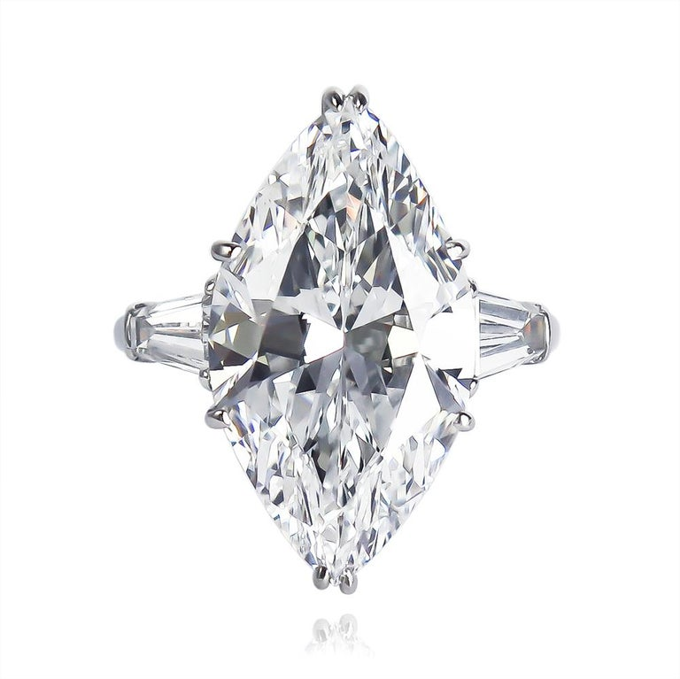 Contemporary J. Birnbach GIA Certified 8.33 Carat D Internally Flawless Marquise Diamond Ring For Sale
