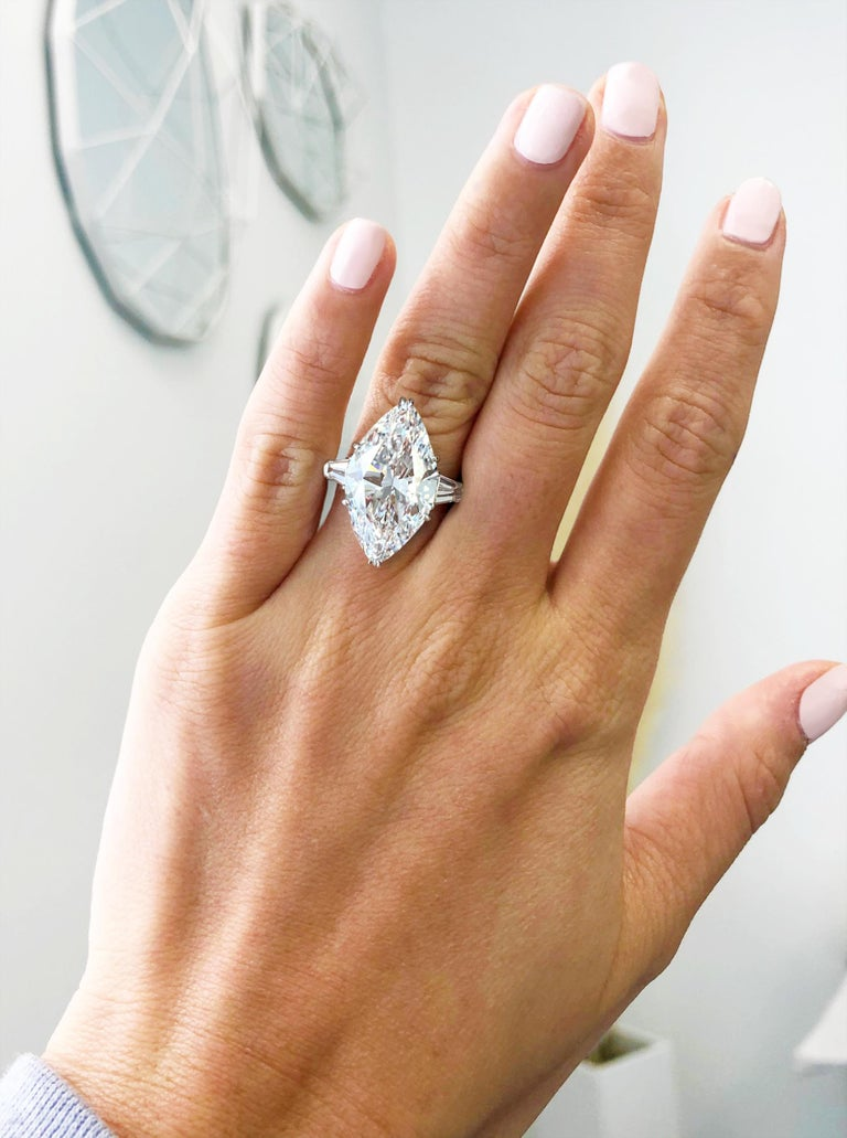 Marquise Cut J. Birnbach GIA Certified 8.33 Carat D Internally Flawless Marquise Diamond Ring For Sale