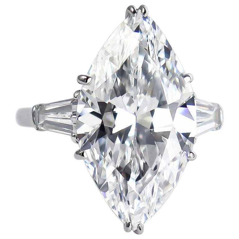 J. Birnbach GIA Certified 8.33 Carat D Internally Flawless Marquise Diamond Ring For Sale