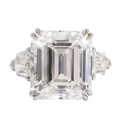 J. Birnbach GIA Certified 8.63 Carat Emerald Cut Three-Stone Ring