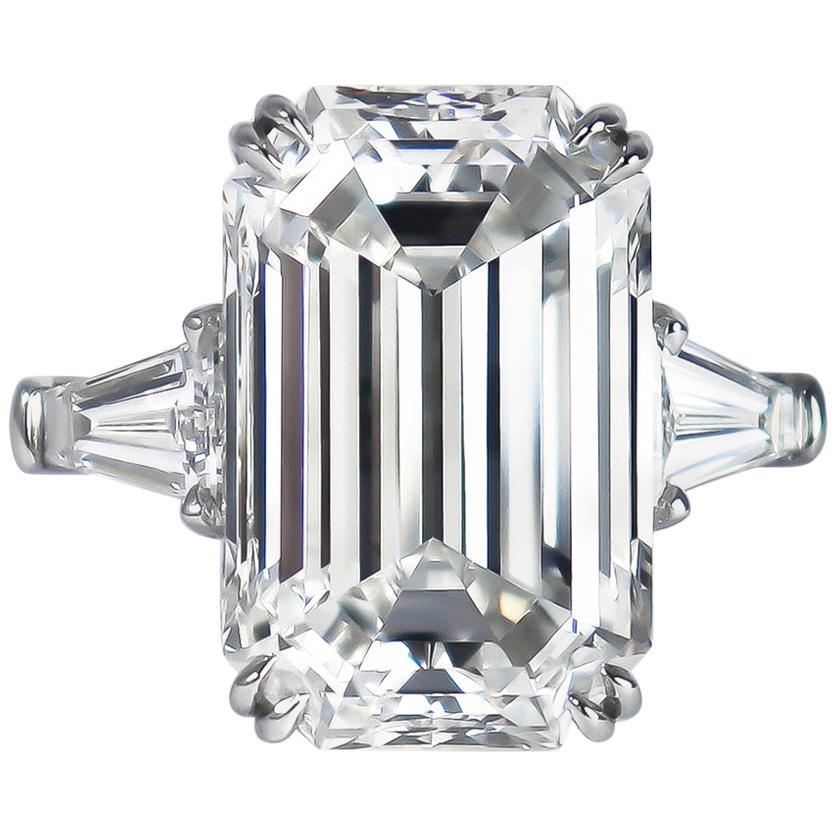 J. Birnbach GIA Certified 9.23 Carat F VVS1 Emerald Cut Three-Stone Ring
