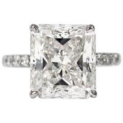 J. Birnbach GIA Certified 9.32 Carat F SI2 Radiant Cut Diamond Ring