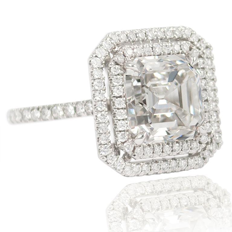 Emerald Cut J. Birnbach GIA Certified F VVS1 4.09 Carat Asscher Cut Diamond Ring For Sale