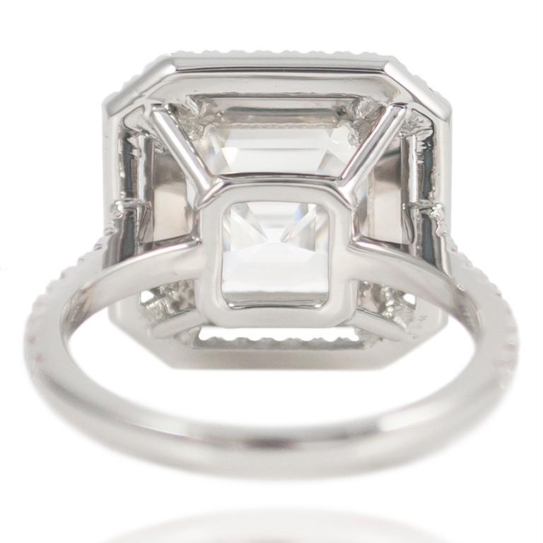 Women's or Men's J. Birnbach GIA Certified F VVS1 4.09 Carat Asscher Cut Diamond Ring For Sale