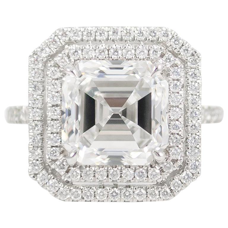 J. Birnbach GIA Certified F VVS1 4.09 Carat Asscher Cut Diamond Ring For Sale