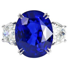 J. Birnbach Gübelin Certified 15.73 Carat Blue Sapphire Oval and Diamond Ring