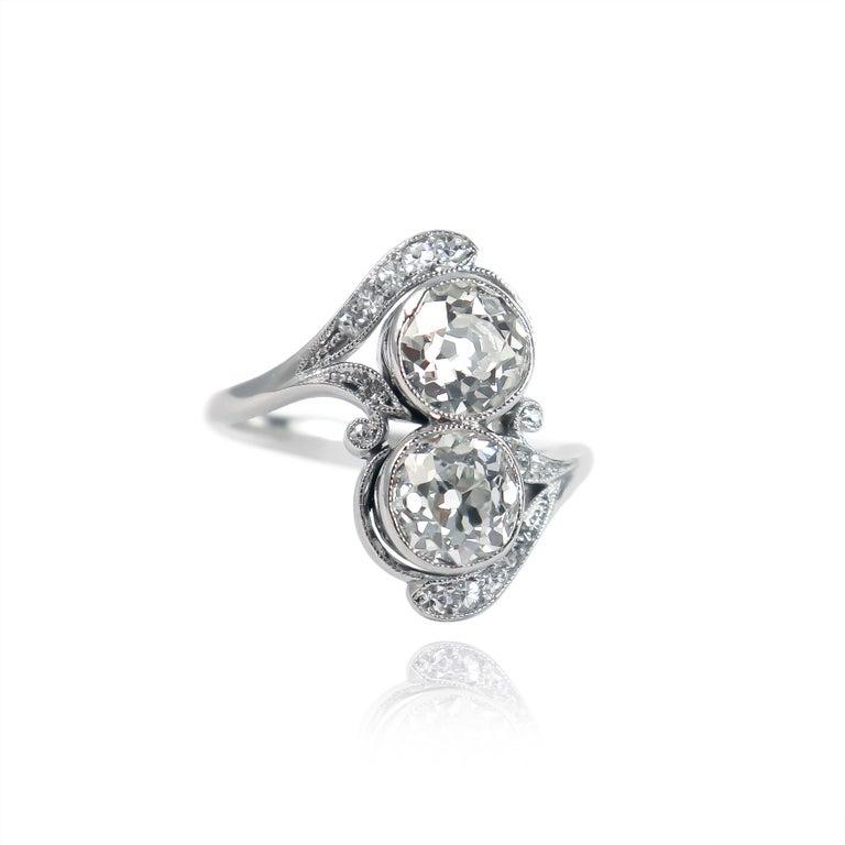 Art Deco J. Birnbach Old European Cut Diamond Moi et Toi Antique Platinum Ring For Sale