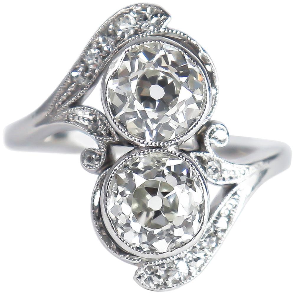 J. Birnbach Old European Cut Diamond Moi et Toi Antique Platinum Ring