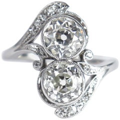 J. Birnbach Old European Cut Diamond Moi et Toi Antique Platinum Ring