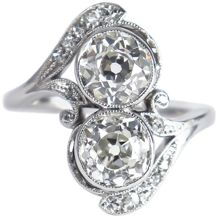 J. Birnbach Old European Cut Diamond Moi et Toi Antique Platinum Ring For Sale