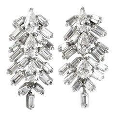 J. Birnbach Pear Shape and Straight Baguette Diamond Drop Earrings