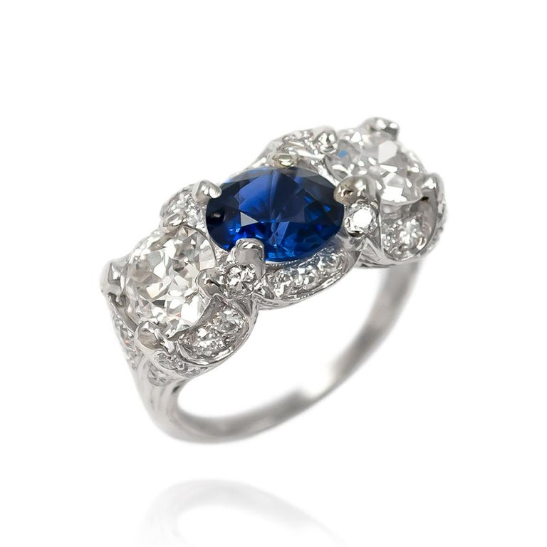Women's or Men's J. Birnbach Sapphire and Old European Cut Diamond Ring For Sale
