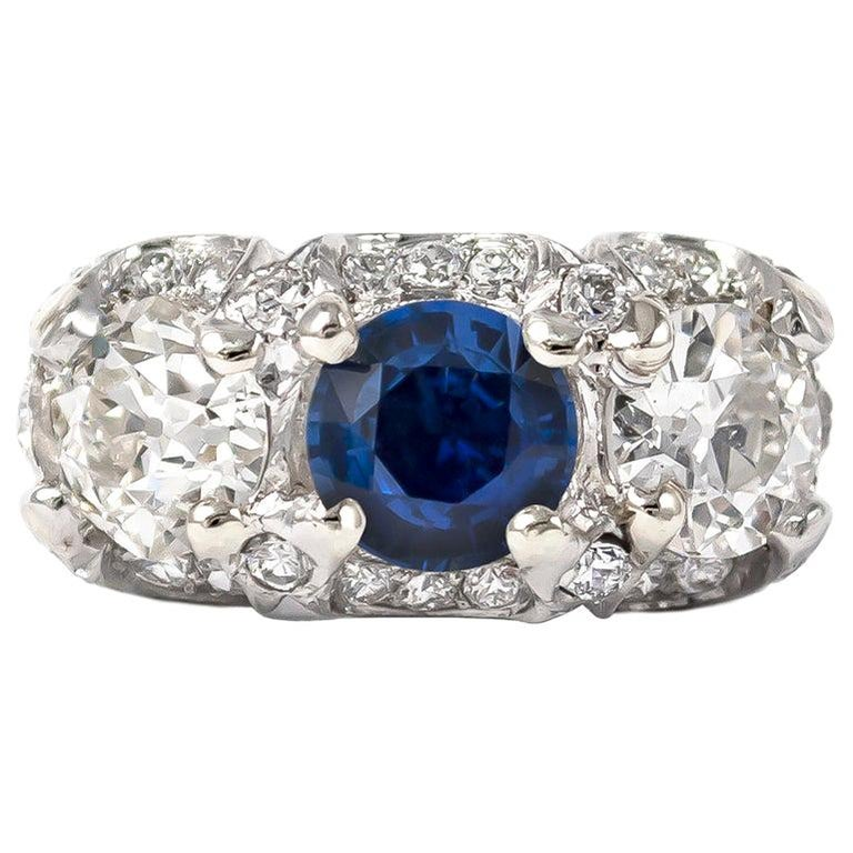 J. Birnbach Sapphire and Old European Cut Diamond Ring For Sale