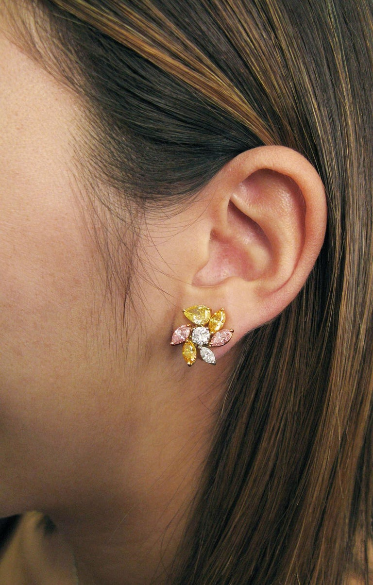 J. Birnbach's 5.39 CTW Natural, Assorted, Fancy Color Diamond Cluster Earrings In New Condition For Sale In New York, NY