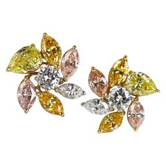 J. Birnbach's 5.39 CTW Natural, Assorted, Fancy Color Diamond Cluster Earrings