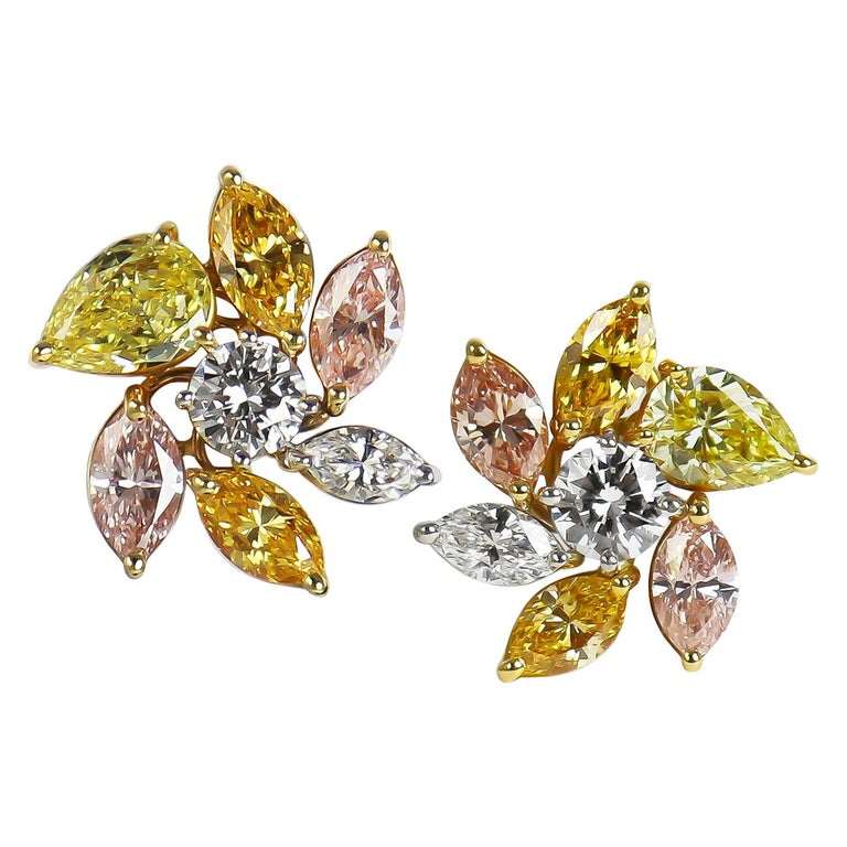 J. Birnbach's 5.39 CTW Natural, Assorted, Fancy Color Diamond Cluster Earrings For Sale