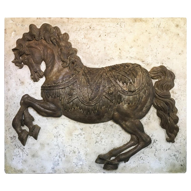 J. Bortin Wall Hanging Sculpture of a Horse For Sale