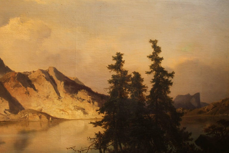 This very fine quality 19th century oil on canvas in dark brown wood frame with gold leaves details throughout is signed by Joseph Brunner (Vienna 1826-1893) and was painted in 1869. This oil painting bucolic landscape depicts the Attersee, a lake