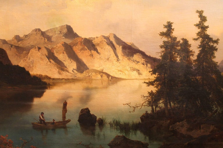 Barbizon School J. Brunner 1869 Oil on Canvas Austrian Landscape with Lake and Mountain Painting For Sale