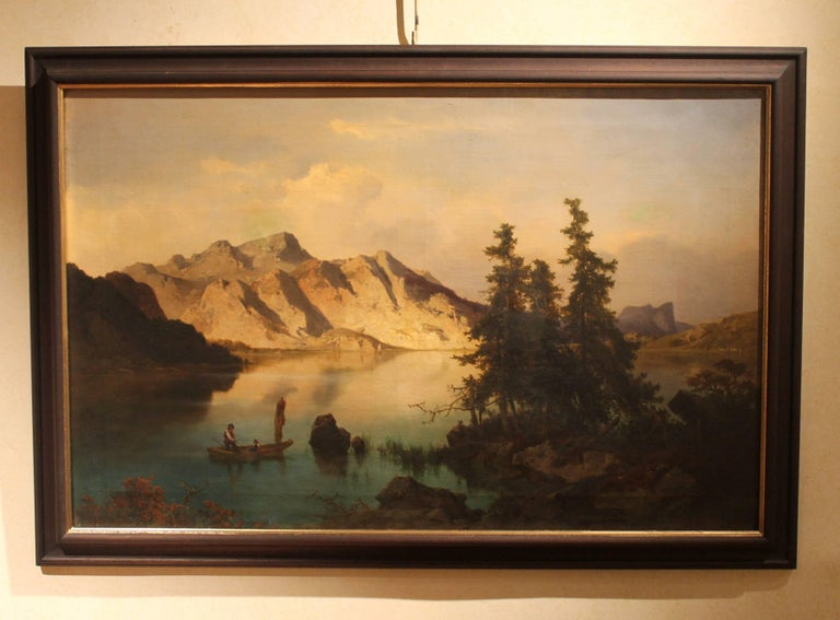 Hand-Crafted J. Brunner 1869 Oil on Canvas Austrian Landscape with Lake and Mountain Painting For Sale