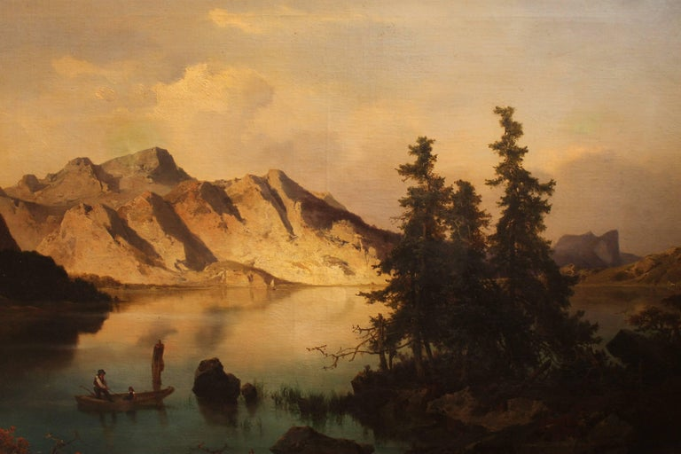 J. Brunner 1869 Oil on Canvas Austrian Landscape with Lake and Mountain Painting In Good Condition For Sale In Firenze, IT