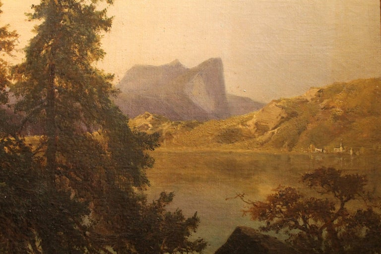 19th Century J. Brunner 1869 Oil on Canvas Austrian Landscape with Lake and Mountain Painting For Sale