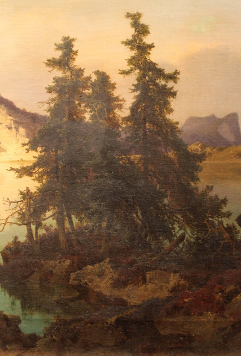 J. Brunner 1869 Oil on Canvas Austrian Landscape with Lake and Mountain Painting For Sale 1
