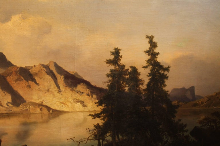 J. Brunner 1869 Oil on Canvas Austrian Landscape with Lake and Mountain Painting For Sale 2