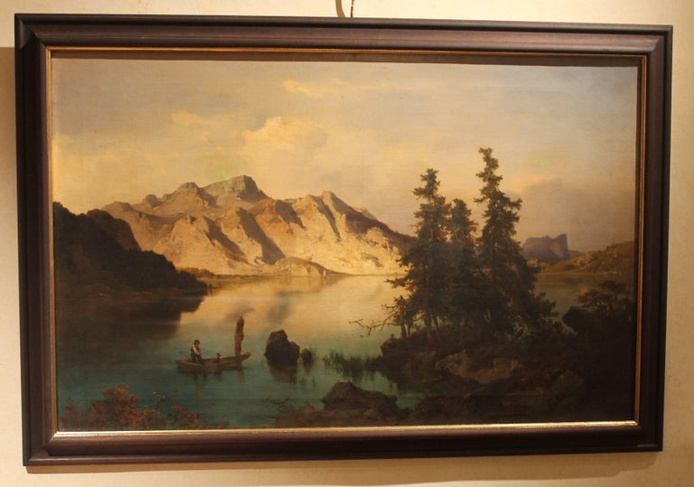 J. Brunner 1869 Oil on Canvas Austrian Landscape with Lake and Mountain Painting For Sale 3