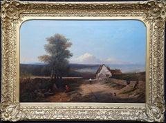 British South East Coastal Landscape - British 1845 Victorian art oil painting