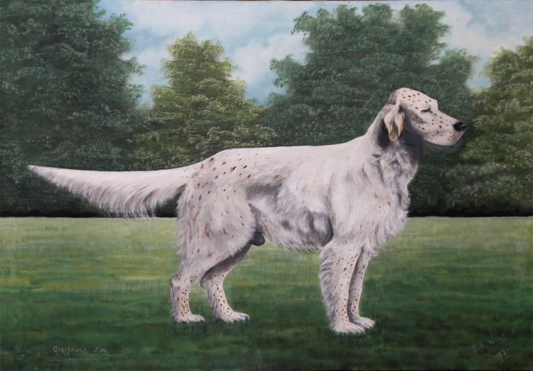 Portrait of an English Setter Stud- Glaisnock Jim - 1920's oil painting dog art - Painting by J C Wilson