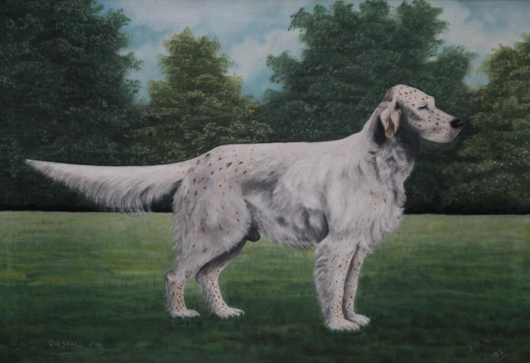 Portrait of an English Setter Stud- Glaisnock Jim - 1920's oil painting dog art - Realist Painting by J C Wilson