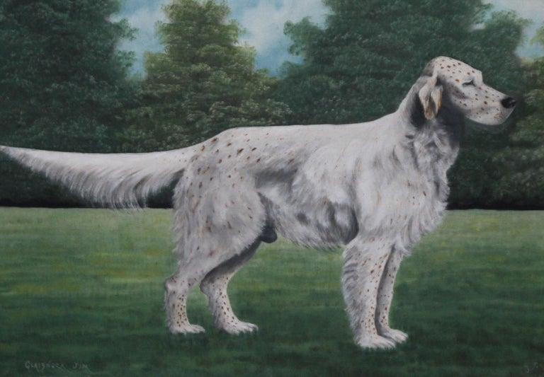 Portrait of an English Setter Stud- Glaisnock Jim - 1920's oil painting dog art - Gray Animal Painting by J C Wilson