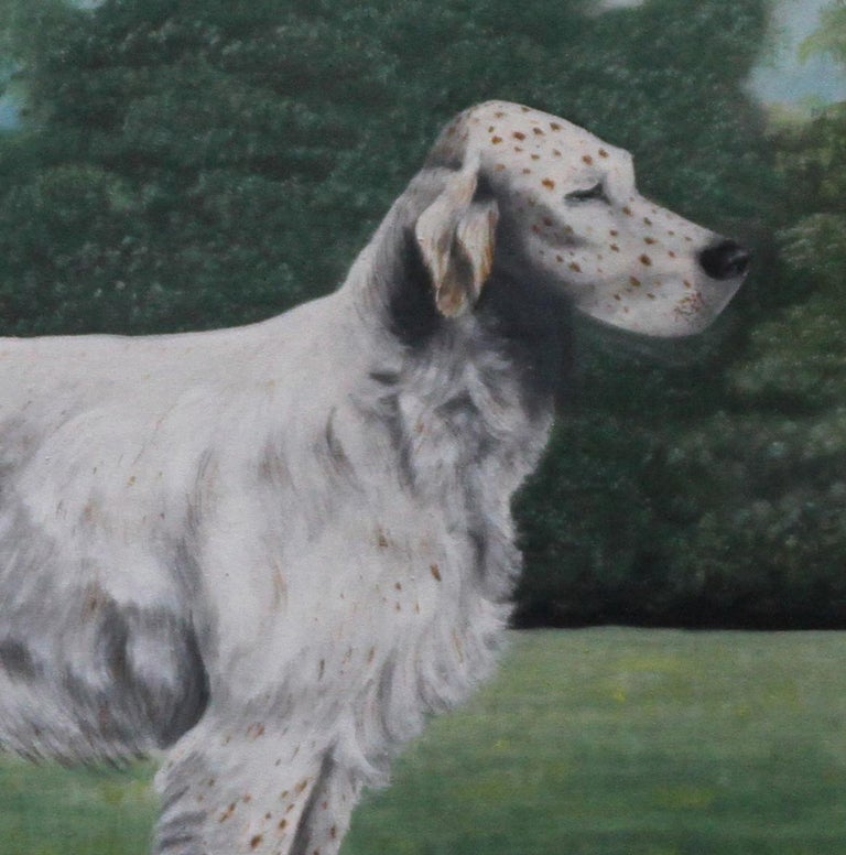 A fine large full-length portrait of an English Setter stud in a landscape.  Painted by J C Wilson in 1921, this oil gouache oil on canvas is a beautiful depiction of the breed.  The dog's name is Glaisnock Jim. He was born in 1913 and his parents