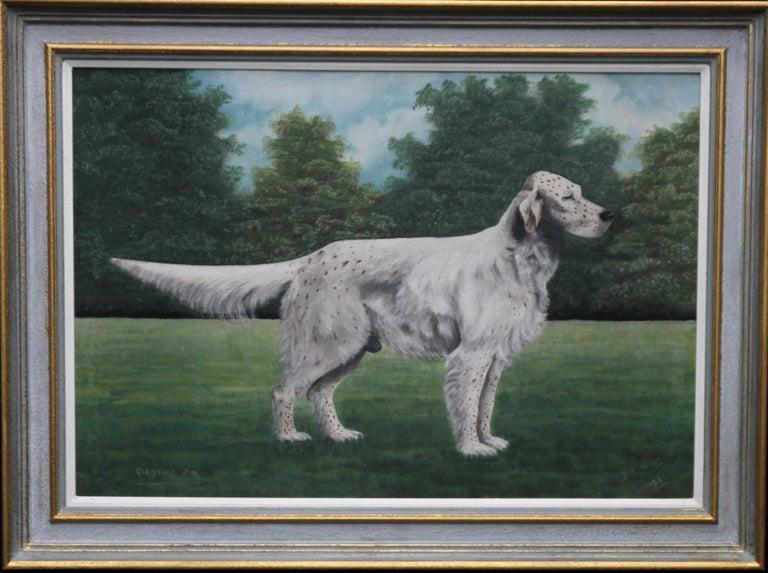 J C Wilson Animal Painting - Portrait of an English Setter Stud- Glaisnock Jim - 1920's oil painting dog art