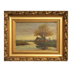 Impressionist Autumn Landscape Painting of a Figure Standing by a Lake