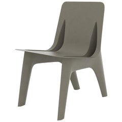 J-Chair Dining Polished Beige Grey Color Carbon Steel Seating by Zieta