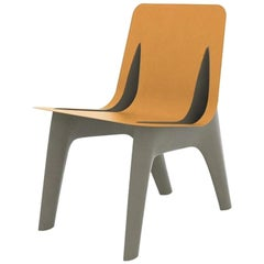 J-Chair Dining Polished Beige Grey Color Carbon Steel and Leather Seating, Zieta