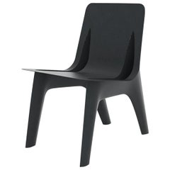J-Chair Dining Polished Graphite Grey Color Carbon Steel Seating by Zieta