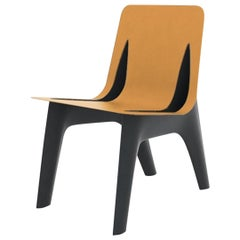 J-Chair Dining Polished Graphite Grey Color Carbon Steel+Leather Seating