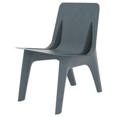 J-Chair Dining Polished Grey Blue Color Carbon Steel Seating by Zieta