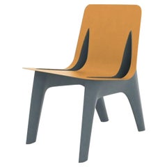 J-Chair Dining Polished Grey Blue Color Carbon Steel and Leather Seating, Zieta